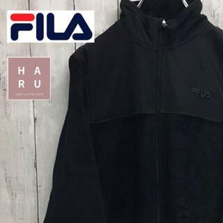 フィラ(FILA)の美品!フィラ フリースパーカー ワンポイントロゴ入り ブラック 着用画像有り(パーカー)