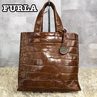 Furla - 美品✨フルラ サリー S クロコ トートバッグ ブラウン チャーム ファスナー