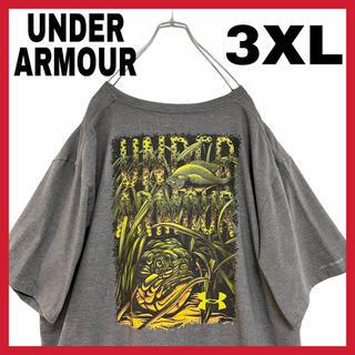 UNDER ARMOUR - アンダーアーマー バックプリント 魚 Tシャツ 3XL メンズ グレー