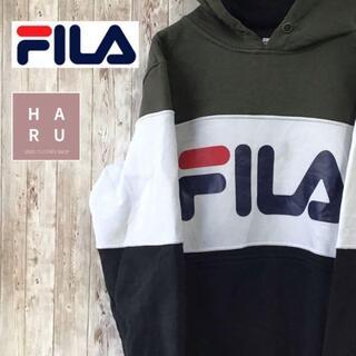 フィラ(FILA)のフィラ ビックロゴデザインパーカー 厚手プルオーバー カーキ ホワイト ブラック(パーカー)