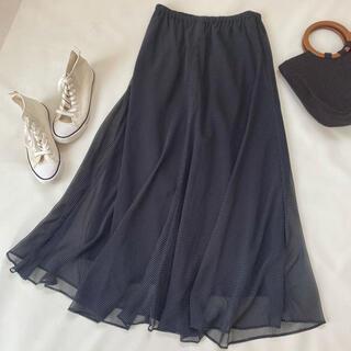 プラージュ(Plage)の美品✨ロングスカート チュールスカート 日本製 フレア ドット柄 ギャザー(ロングスカート)