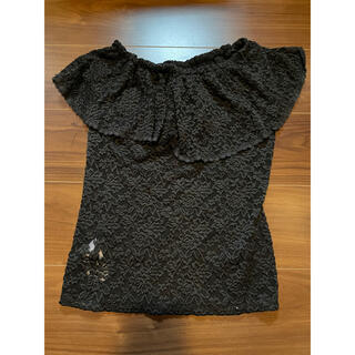 デュラス(DURAS)のDURAS オフショルダー オフショル Tシャツ ブラック レース(Tシャツ(半袖/袖なし))