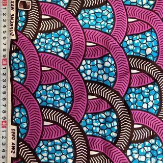 109 ピンク サークル アフリカ布 50cm x 110cm バオバブ神戸(生地/糸)