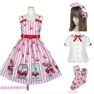 アンジェリックプリティー(Angelic Pretty)の【最終値下げ】angelic pretty Cherry Stamp セット(ひざ丈ワンピース)