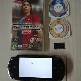 PlayStation Portable - 美品☆psp本体☆黒②バッテリー、ゲーム3つ、メモリー付き。動作OK。除菌済み