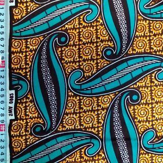 112 オレンジ ブルー アフリカ布 50cm x 110cm バオバブ神戸(生地/糸)