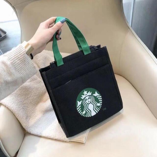 Starbucks Coffee(スターバックスコーヒー)の人気商品 スタバトートバッグ ブラック 日本未発売 新品未使用 レディースのバッグ(トートバッグ)の商品写真