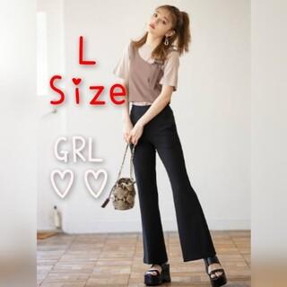 GRL - GRL ストレッチフレアパンツ カットフレアパンツ ブラック黒 Lサイズ