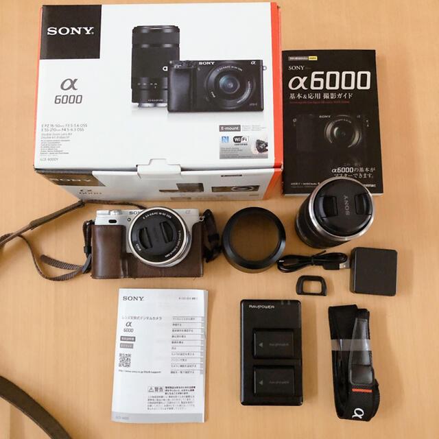 SONY(ソニー)のSONY α6000 ダブルズームレンズキット ホワイト ILCE-6000Y スマホ/家電/カメラのカメラ(ミラーレス一眼)の商品写真
