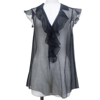 シャネル(CHANEL)のシャネル トップス フリル  ブラウス シルク ブラック 40800075985(シャツ/ブラウス(半袖/袖なし))