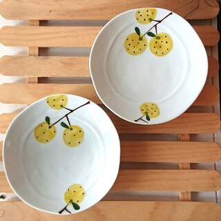 ハサミ(HASAMI)の柚子模様の皿 2枚 波佐見焼 人気 おしゃれ かわいい プレゼント 取り皿 丸皿(食器)