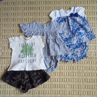 ニシマツヤ(西松屋)の女児 夏用セットアップ 3セット 70cm(その他)
