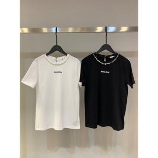 miumiu - ミュウミュウ MIUMIU 丸首半袖Tシャツ 白 SML選択可能