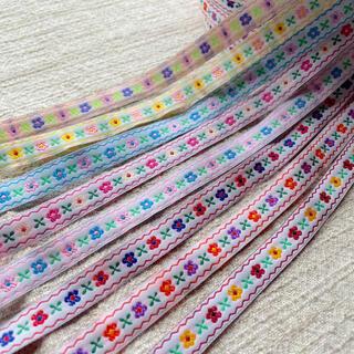 チロリアンテープ 刺繍リボン お花柄 全8色 1m   120円(その他)