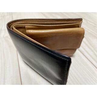 ガンゾ(GANZO)の折りたたみ財布 黒×茶 レザー財布【FICO】(折り財布)