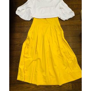 ザラ(ZARA)のZARAロングスカート   黄色(ロングスカート)