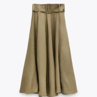 ザラ(ZARA)のZARA ベルト付きラスティックスカート(ロングスカート)