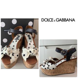 DOLCE&GABBANA - ドルチェ&ガッバーナ ホワイトドット ウエッジ サンダル