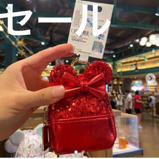 上海ディズニー セール ミニー 赤いリュックキーホルダー