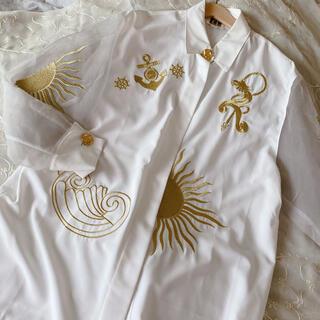 Grimoire - vintageレトロ古着オーガンジー金刺繍シースルーブラウス