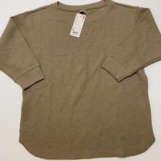 ユニクロ(UNIQLO)の【新品未使用】ユニクロ ワッフルクルーネックT 七分袖(Tシャツ(長袖/七分))