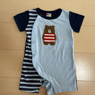 ニシマツヤ(西松屋)のロンパース くまさんロゴ 70cm 西松屋 半袖(ロンパース)