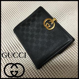Gucci - GUCCI  グッチ  マイクロGG  インターロッキング  二つ折り財布 黒