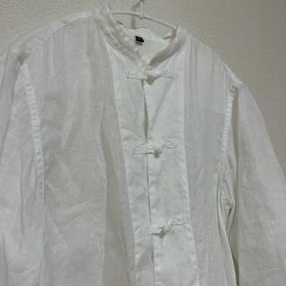 MUJI (無印良品) - 無印良品 結び釦シャツ リネン 白 ホワイト