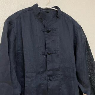 MUJI (無印良品) - 無印良品 結び釦シャツ リネン ネイビー