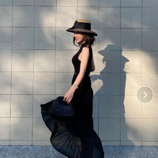 eimy istoire - エイミー。シアースカートノースリーブワンピース(BLACK)