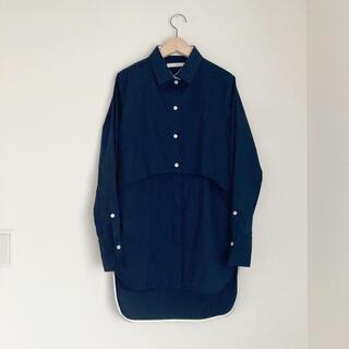 DEUXIEME CLASSE - CINOH チノ レイヤードシャツ ロング丈 紺 ドゥーズィエムクラス