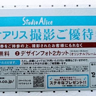 スタジオアリス 撮影ご優待券 2カット(その他)