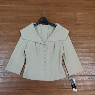 フォクシー(FOXEY)のFOXEY NEW YORK ストレッチスムースくるみボタン七分袖ジャケット(テーラードジャケット)