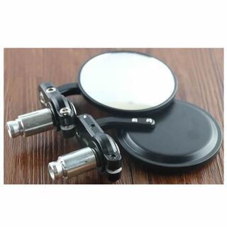 丸形 バイク バーエンド ミラー 左右 2個セット 交換 修理 黒□(装備/装具)