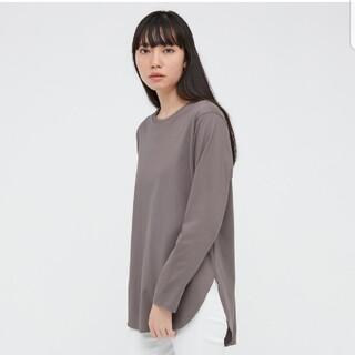 ユニクロ(UNIQLO)の【Sサイズ・ブラウン】コットンロングテールシャツ(Tシャツ(長袖/七分))