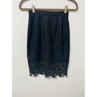 Lily Brown - リリーブラウン レースタイトスカート ブラック