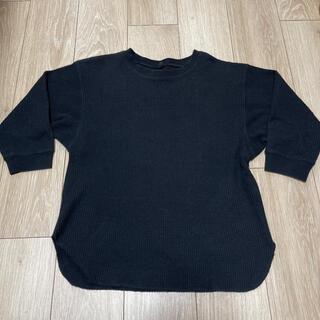 ユニクロ(UNIQLO)のユニクロ ワッフルTシャツ 7分袖 黒 Sサイズ(Tシャツ(長袖/七分))