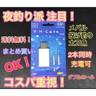 電気ウキ電池 USB充電機1個 夜釣り派注目(その他)
