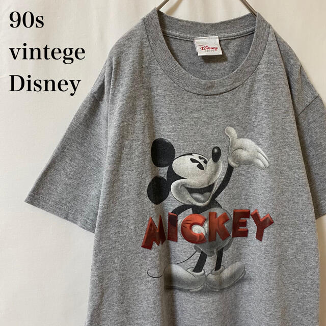 Disney(ディズニー)の★90s vintege Disney モノクロ ミッキー グレー ディズニー メンズのトップス(Tシャツ/カットソー(半袖/袖なし))の商品写真
