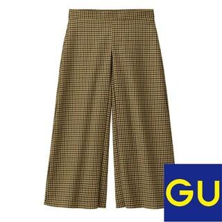 ジーユー(GU)のgu キュロットパンツ ガンクラブチェック ベージュ XL(カジュアルパンツ)