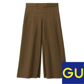 ジーユー(GU)のgu キュロットパンツ ガンクラブチェック ブラウン M(カジュアルパンツ)