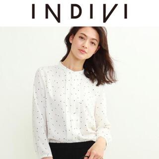 INDIVI - 6/21迄 定価14,850円 INDIVI センタータックバンドカラーブラウス