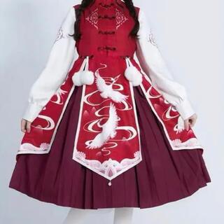 チャイナ 漢服 華ロリータ 中国風 鶴 瑞雲 セット(衣装一式)