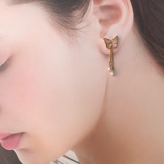 No.5 蝶々ピアス 3枚目着画イメージ♡ ハンドメイドのアクセサリー(ピアス)の商品写真