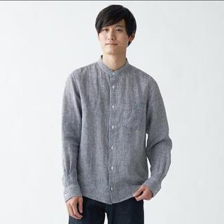 MUJI (無印良品) - 無印 バンドカラーチェックリネンシャツ