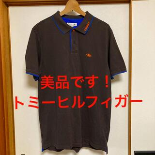 TOMMY HILFIGER - 美品です!トミーヒルフィガー 襟ロゴ入り 鹿の子コットン ポロシャツ 濃茶色