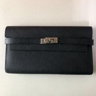 Hermes - エルメス ケリーウォレット 黒 ブラック 長財布 財布 シルバー金具
