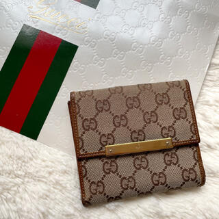Gucci - 【正規品】GUCCI グッチ 折り財布 シマ GG キャンバス シリアル
