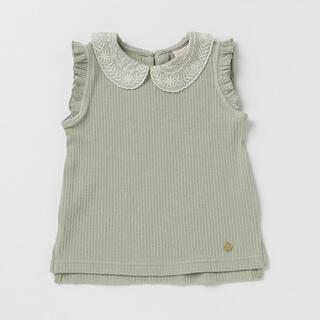 petit main - 衿レースリブTシャツ
