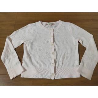 ボンポワン(Bonpoint)のボンポワン カーディガン ピンク チェリー透かし編み サイズ3(カーディガン)